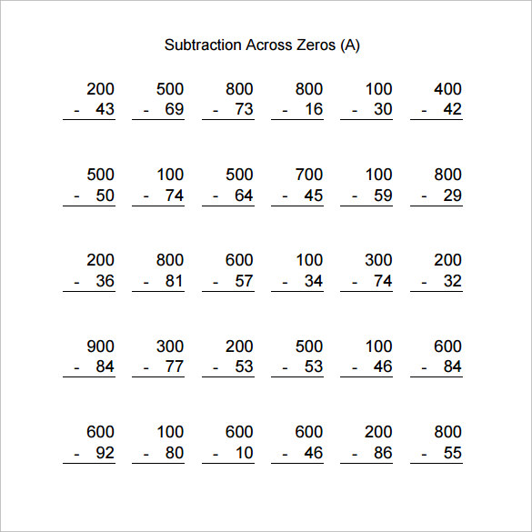 Subtracting Across Zeros Worksheets 3rd Grade Tecnologialinstante – Subtraction with Regrouping Across Zeros Worksheets
