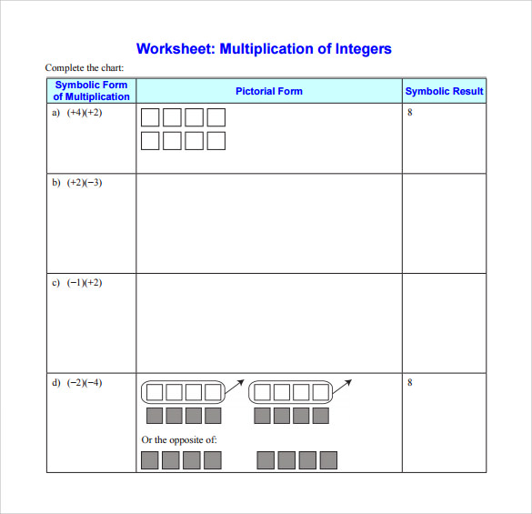 Sample Multiplying Integers Horizontal Worksheet   Free