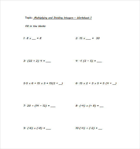Sample Multiplying Integers Horizontal Worksheet   Free Documents