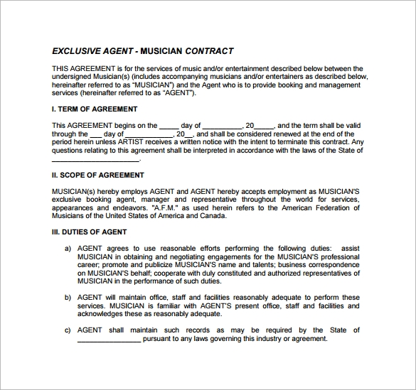 10 booking agent contract templates to download sample for Musicians contract template