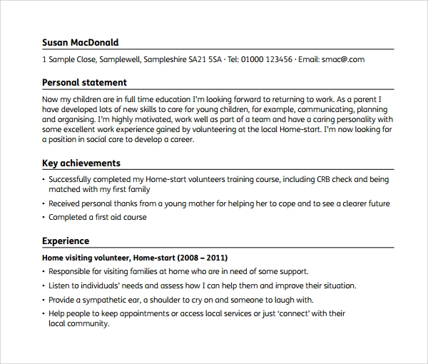 sample cv for young people