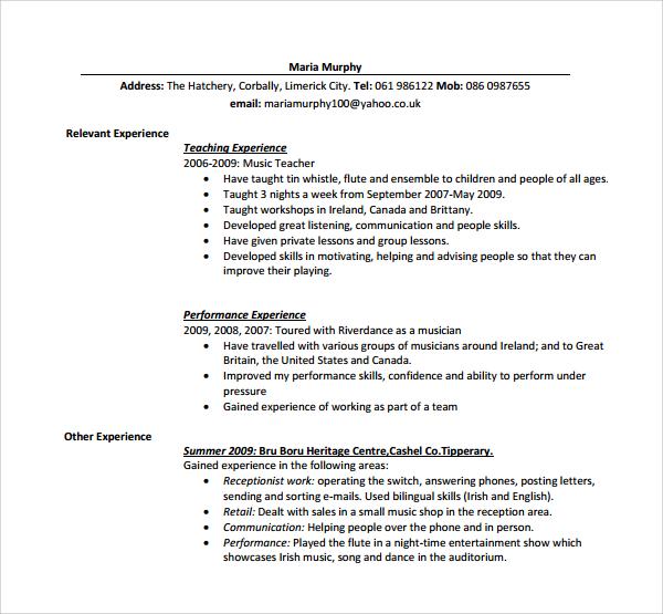 printable teaching cv template