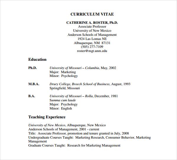 free teaching cv template