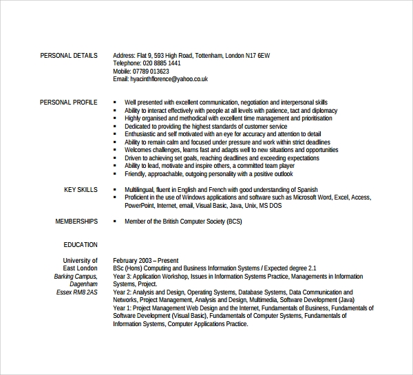 Currently Working Resume Format Pdf: 26+ Documents In PDF, Word