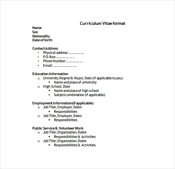 Sample Cv - 26+ Documents In Pdf, Word