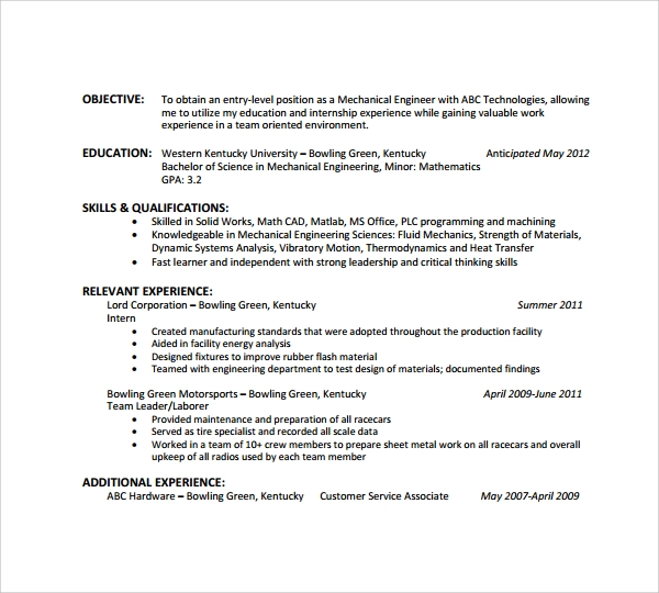 sample resumes for engineering students