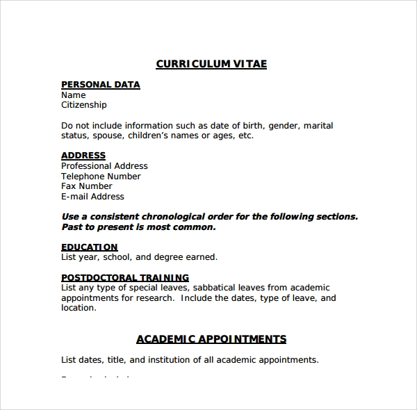 Sample Cv   Documents In Pdf Word