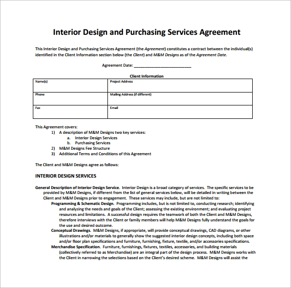 Interior design contract template 10 download free for Interior decorator contract