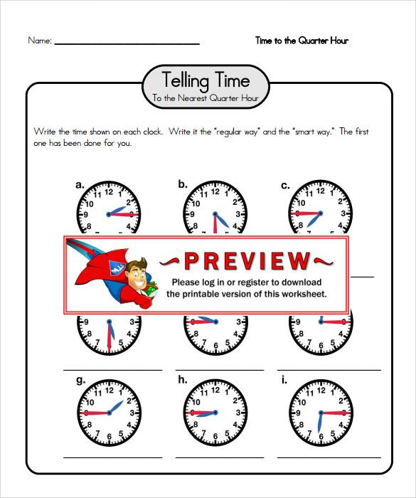 Free telling time worksheets pdf