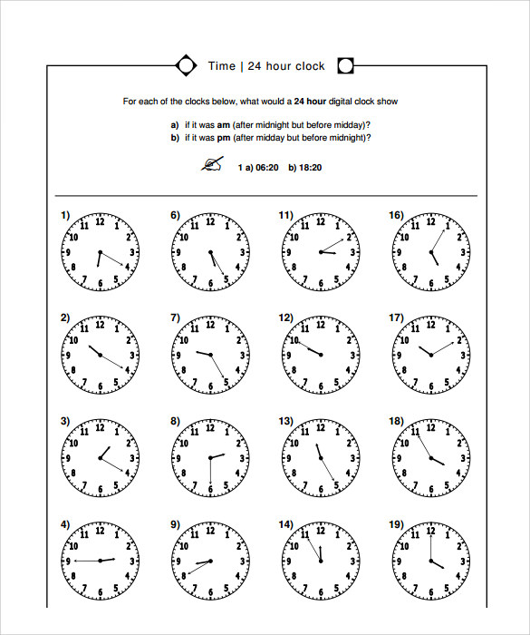 Sample Time Worksheet   Documents In Pdf