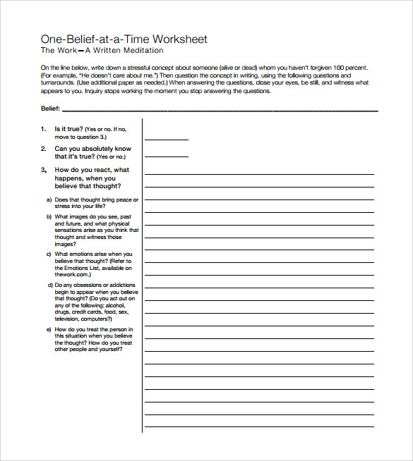 Thought Stopping Techniques Worksheet Images