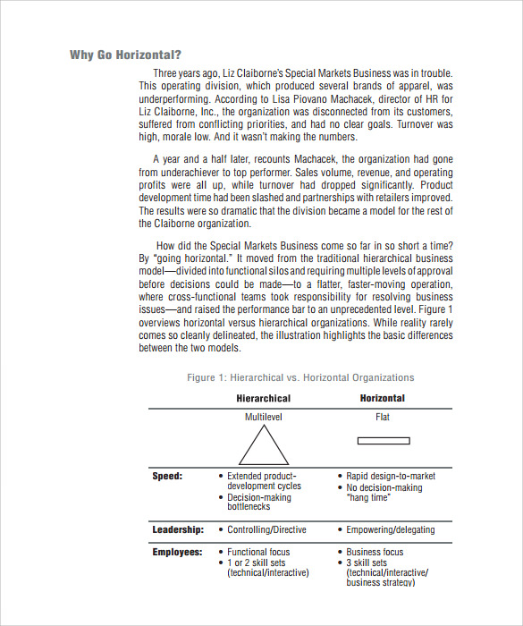 Sample Horizontal Organization Chart - 5+ Documents In Pdf