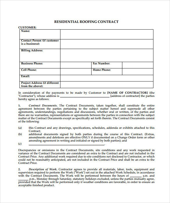 Roofing Contract Template   Download Free Documents In Pdf