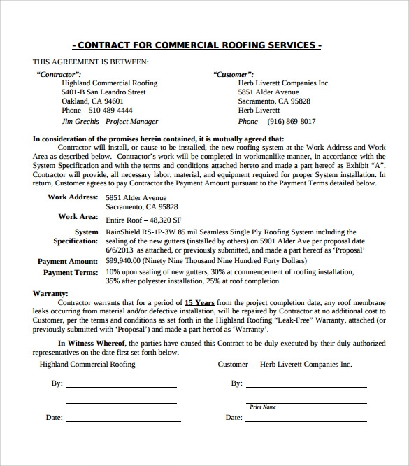 sample free roofing contract template