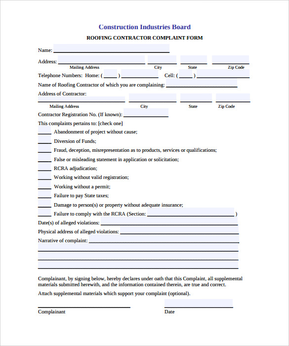 Charming Roofing Contract Form Template