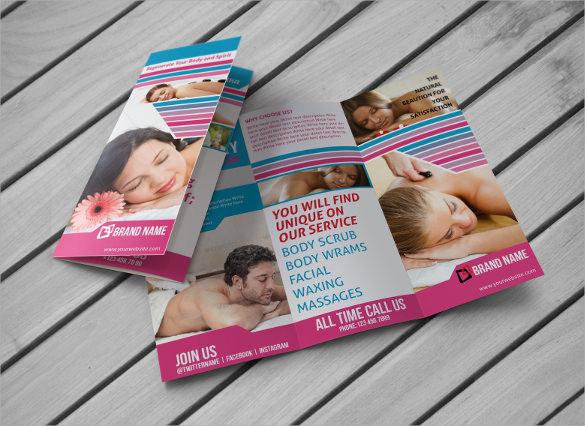 spa beauty saloon trifold brochure