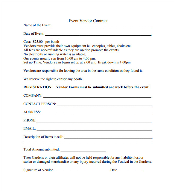 Event Contract Templates To Download For Free Sample Templates - Blank contract forms