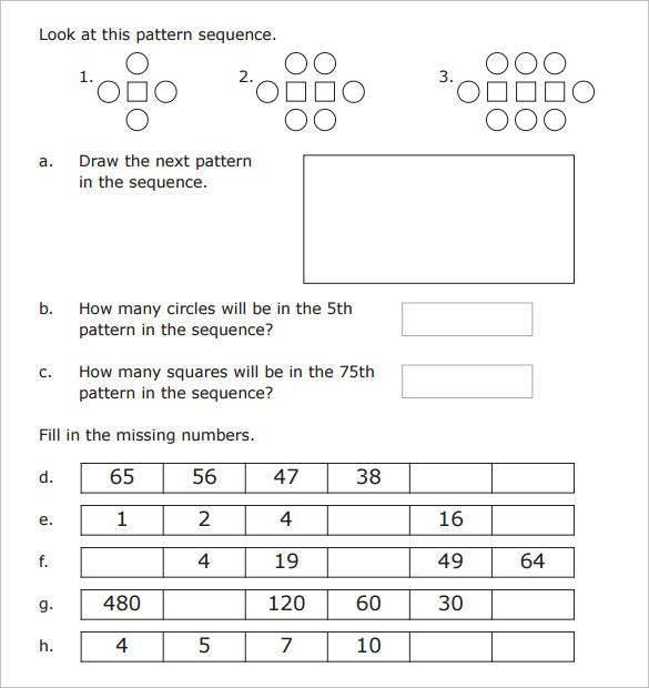 sample patterning worksheet