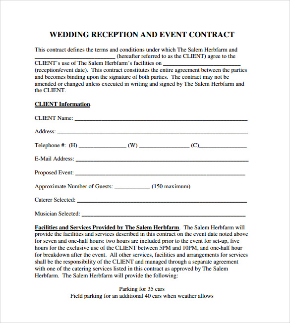 Event Contract Template 18 Download Documents In Pdf