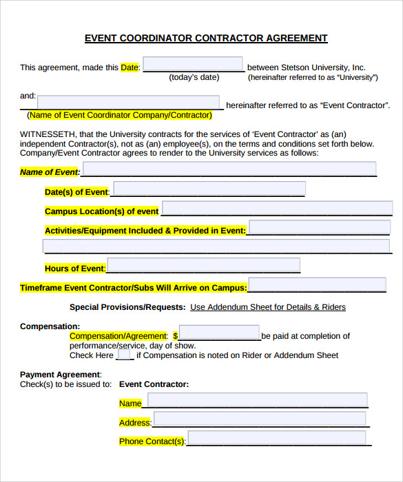 Wedding Planner Contract Template to Print