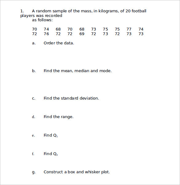 Sample Statistics Worksheet 14 Documents in PDF Word – Standard Deviation Worksheets