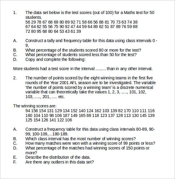 statistics worksheet word format