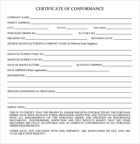 certificate of conformance template - 20 certificate of conformance templates sample templates