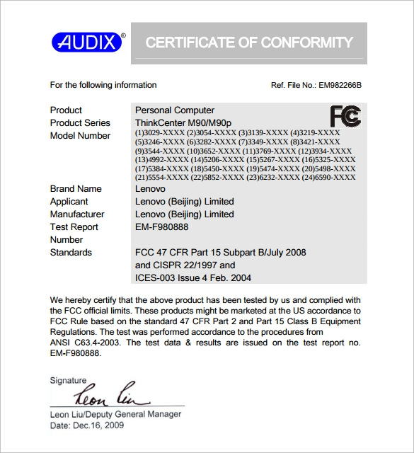 downloadable conformance certificate