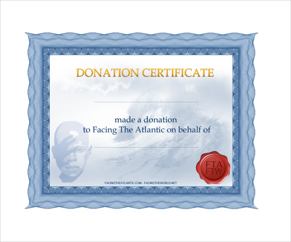 Sample Donation Certificate Template   Free Documents In Pdf Word