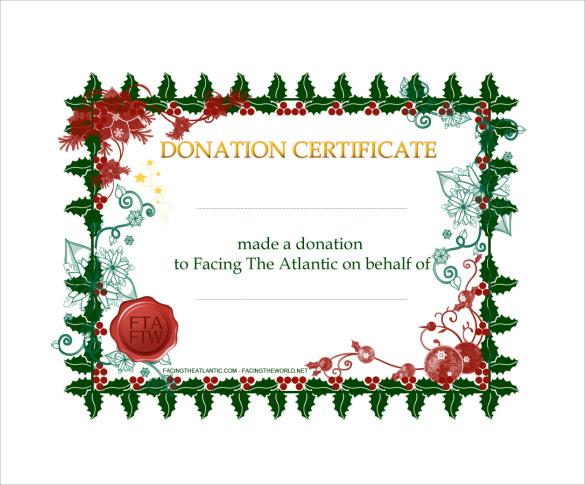 Sample donation certificate template 6 free documents in pdf word basic donation certificate template yadclub Gallery