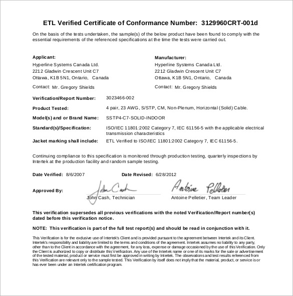 Conformity Certificate Templates to Download