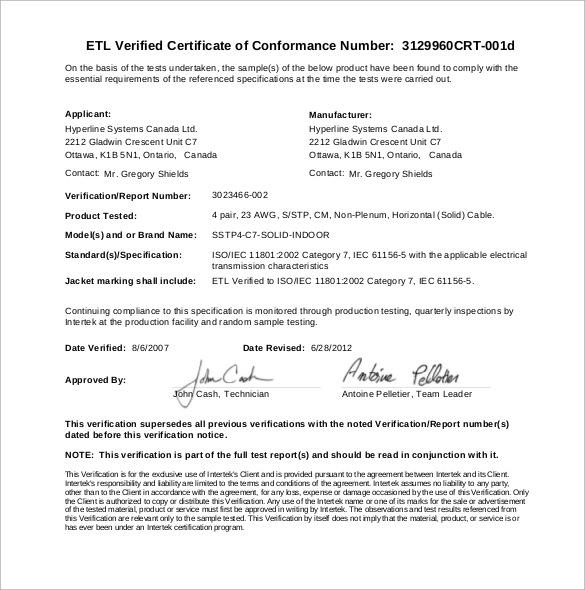 conformance certificate