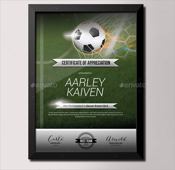 soccer certificate template 7 download free documents