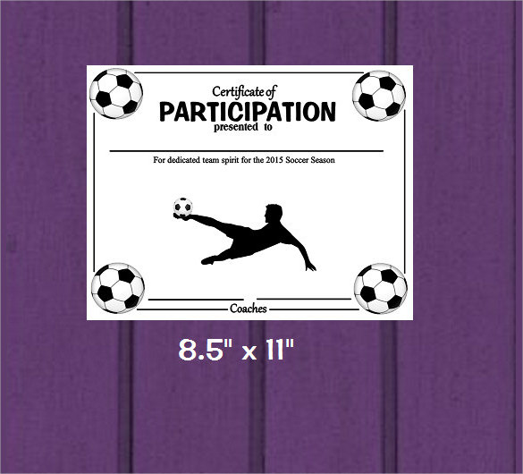 sample soccer certificate template