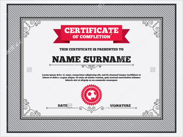 soccer certificate example template