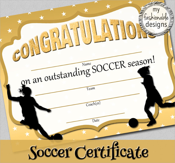 simple soccer certificate template