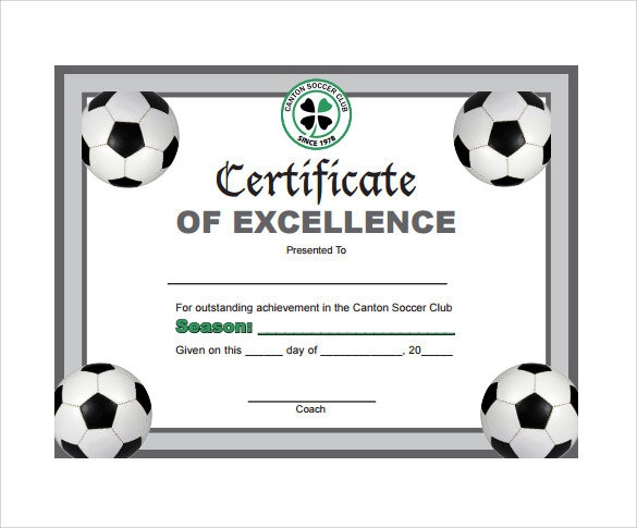 picture regarding Printable Soccer Certificates named Football Certification Templates - 17+ PSD, AI, InDesign, Term