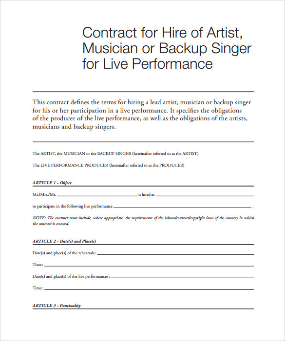 Sample Music Contract Template   Free Documents In Pdf Word