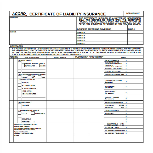Certificate Of Insurance Template | Template Design
