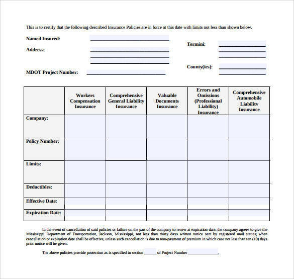 Certificate of Insurance Template 13 Download Free Documents in – Certificate of Insurance Template