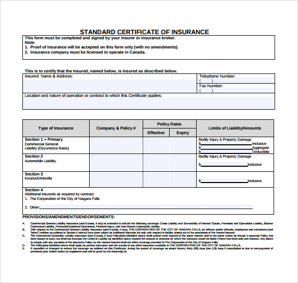 standard certificate of insurance template