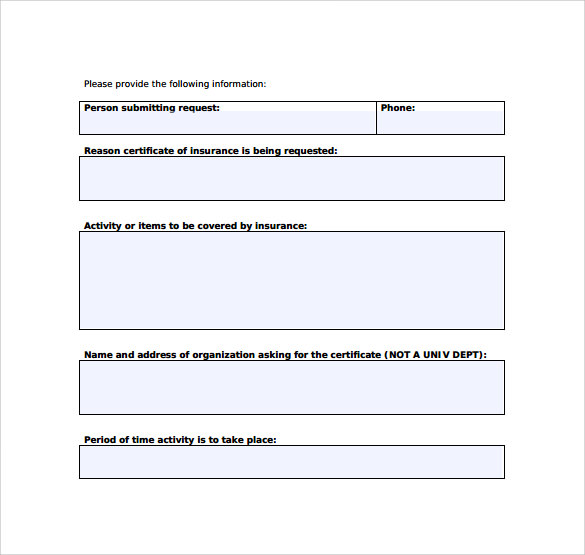 request for certificate of insurance template