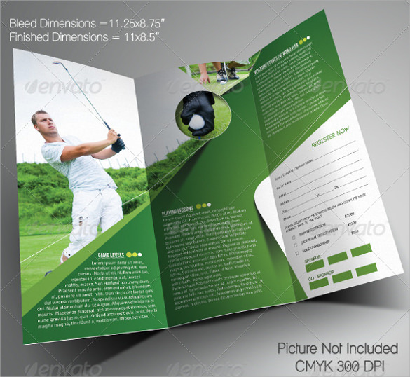 golf event trifold brochure template