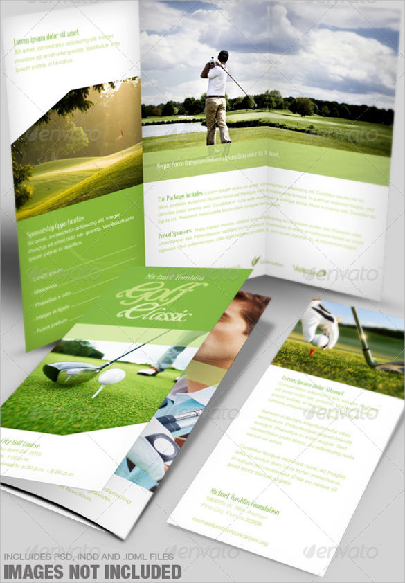 golf classic event tri fold brochure template
