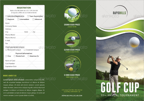 golf cup event 3 fold brochure