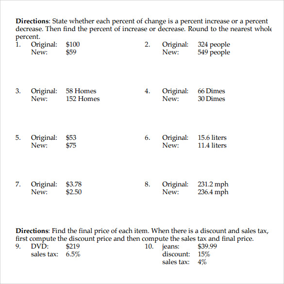 Percents Worksheet Percent To Decimal To Fraction Worksheet
