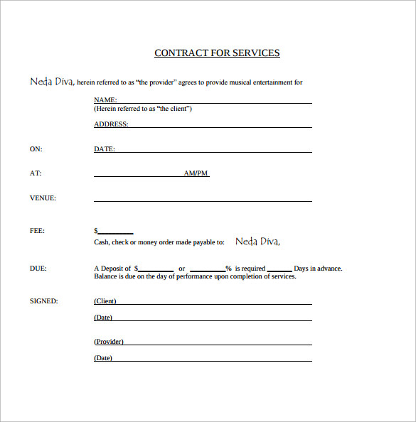Sample Music Contract Template 12 Free Documents in PDF Word – Performance Contract Template