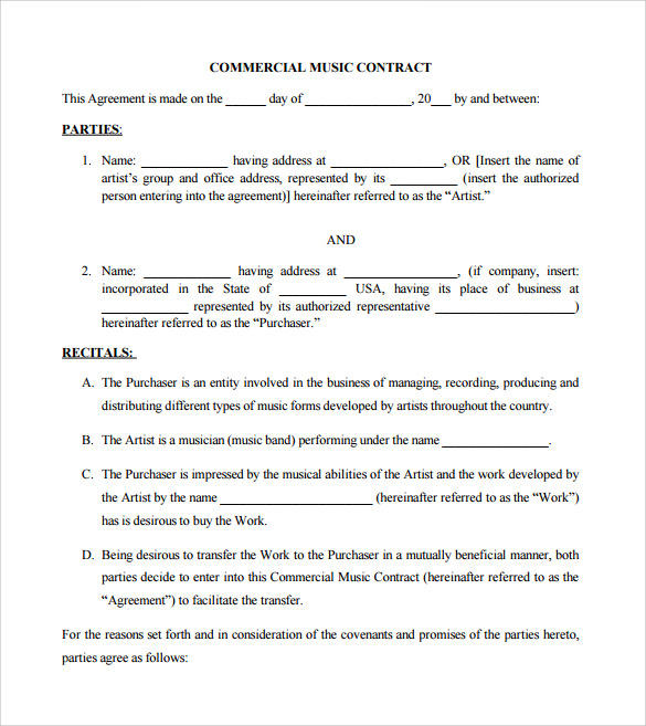 musicians contract template - music contract blandys full letter and halls contract
