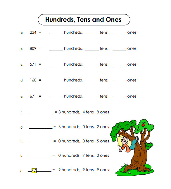 Sample Place Value Worksheet 13 Free Documents in PDF Word – Place Value Worksheets for Kindergarten