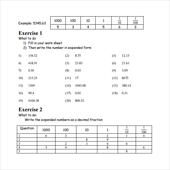 Sample Place Value Worksheet - 13+ Free Documents in PDF, Word